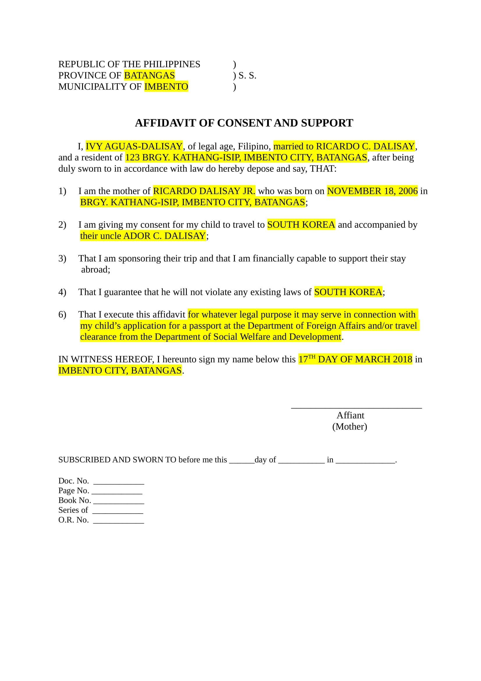notarized letter template notarized document