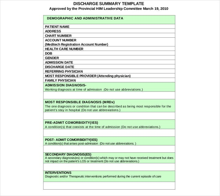 patient discharge letter template nhs  9+ Discharge Summary Templates - PDF, DOC | Free & Premium ..