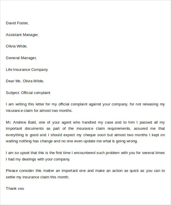 3 letter templates free  9 Sample Complaint Letter Format Templates to Download ..