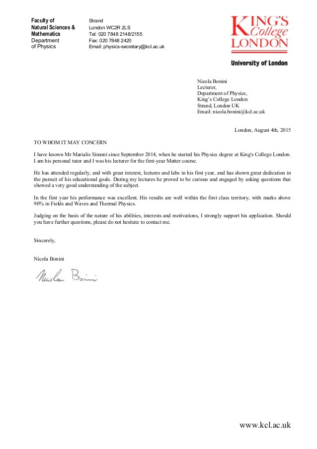 reference letter template uk  Academic Reference for Marialis Simoni from Nicola Bonini - reference letter template uk