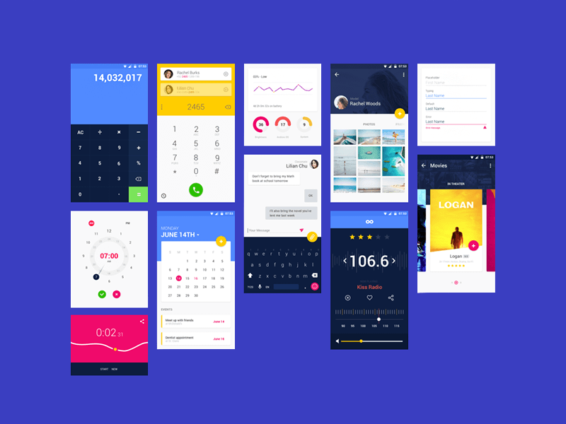 xd calendar template  Android Material Design App Templates free resources for ..