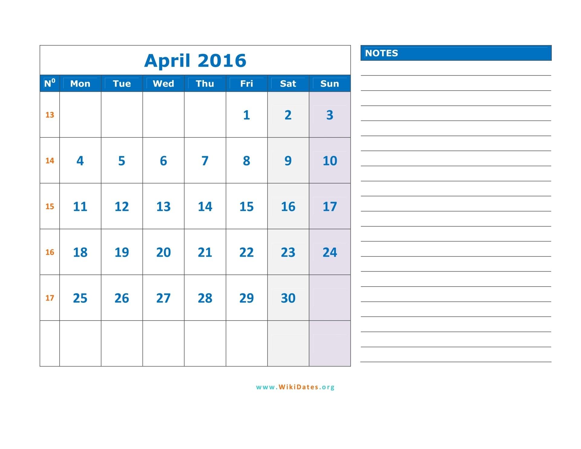 12 month calendar template 2019  April 2016 Calendar   WikiDates