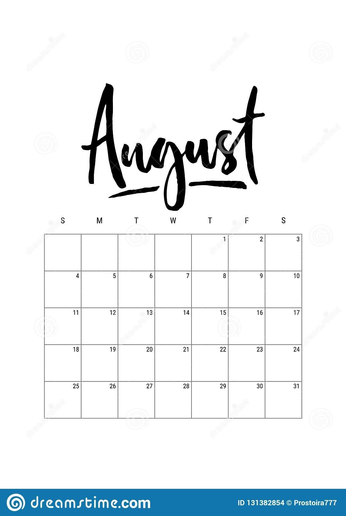 12 month calendar template 2019  August. Calendar Planner 2019, Week Starts On Sunday. Part ..