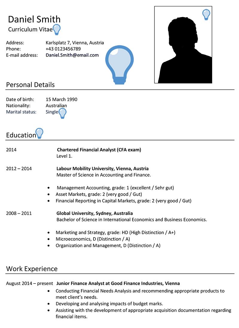 a good resume template  Austria CV Sample - CareerProfessor