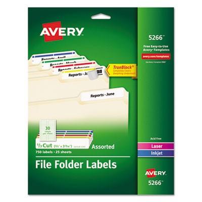 avery template 05202  AVE-5266: Avery Permanent TrueBlock File Folder Labels ..