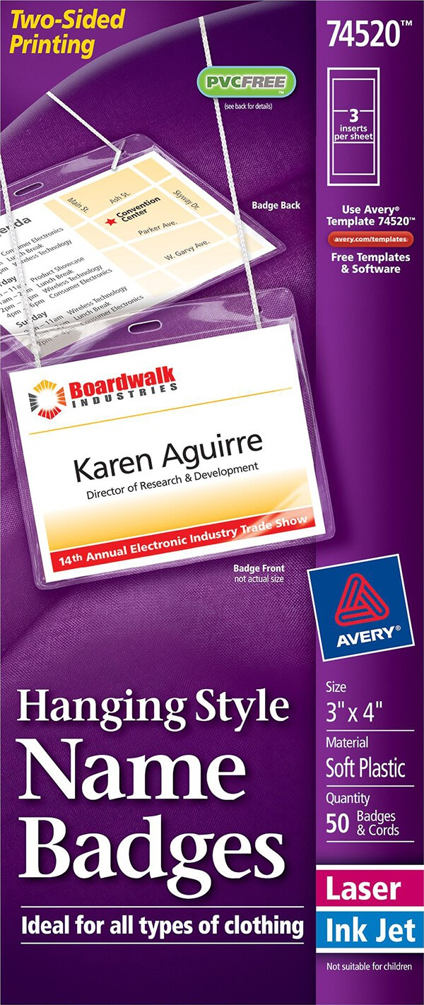 avery badge template  Avery® Hanging Name Badges, Top-Loading-74520 - Avery ..