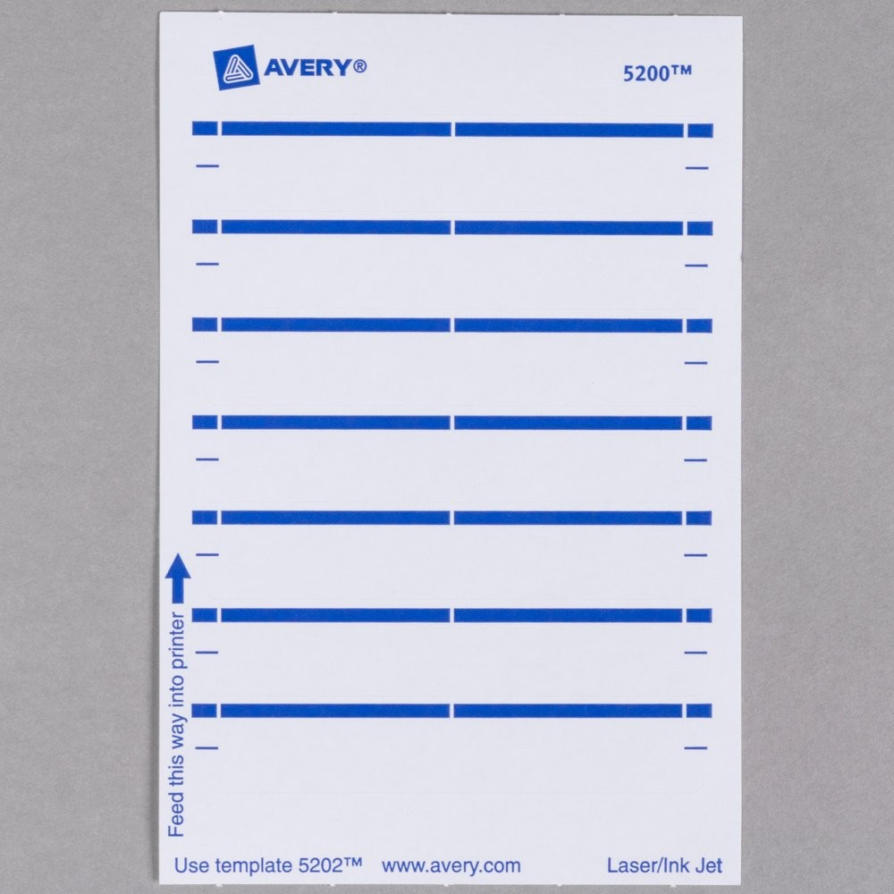 "avery template 05202  Avery 5202 11/16"" x 3 7/16"" White Rectangular Write-On .."