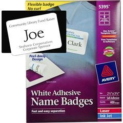 "avery badge template  Avery 5395 White Adhesive Name Badges, 2-1/3 x 3-3/8"" - avery badge template"
