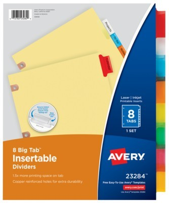 avery 8 tab template  Avery Big Tab Insertable Dividers - avery 8 tab template