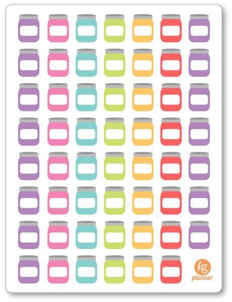 m-f calendar template  Blank Savings Jar Rainbow PDF PRINTABLE Planner Stickers ..