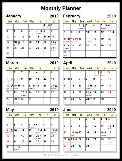 6 month calendar template  Briggs Softworks: Calendar Commander - Sample Calendars - 6 month calendar template