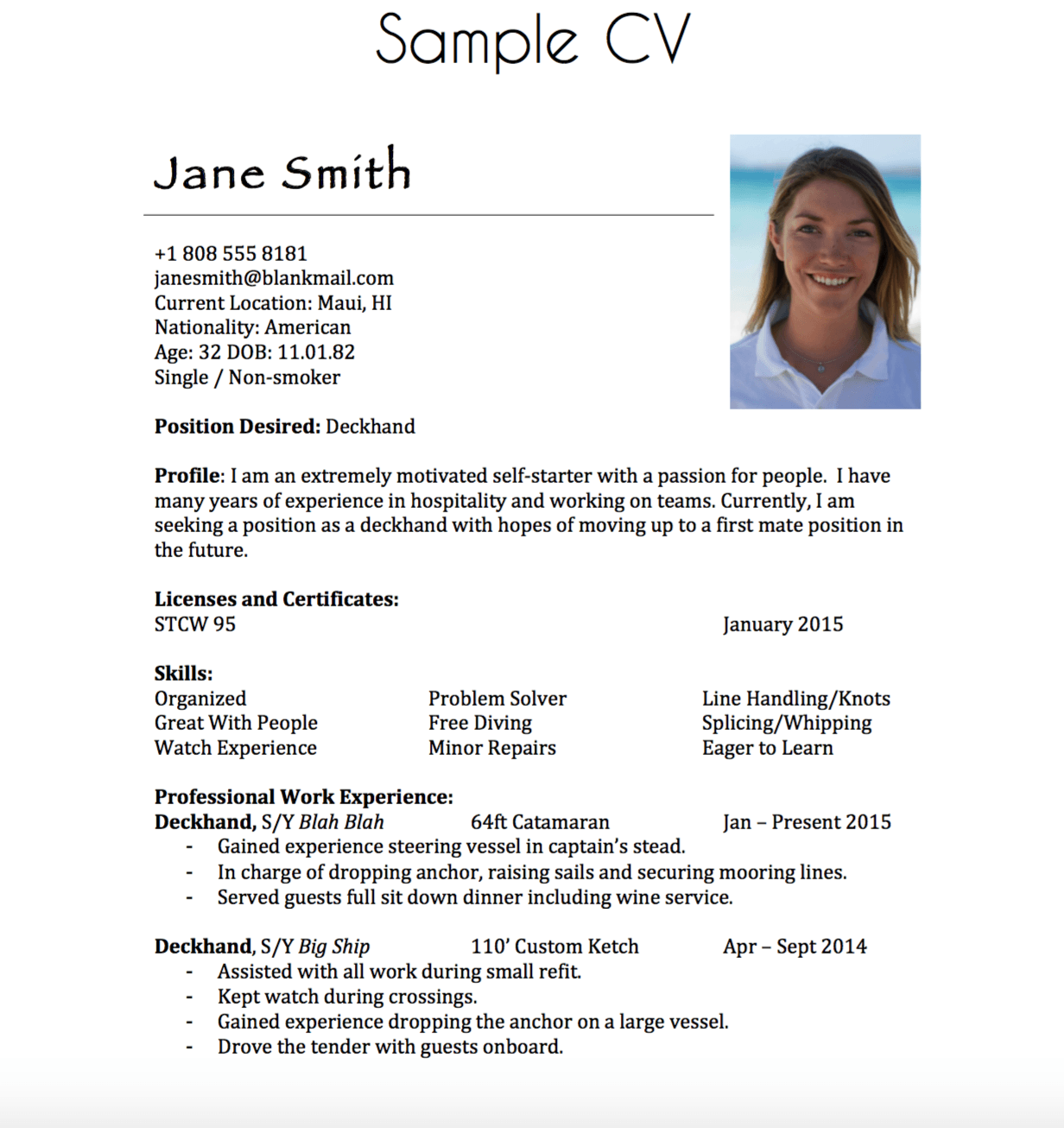 yacht resume template  Building a Yachting Resume - Moxie & Epoxy - yacht resume template