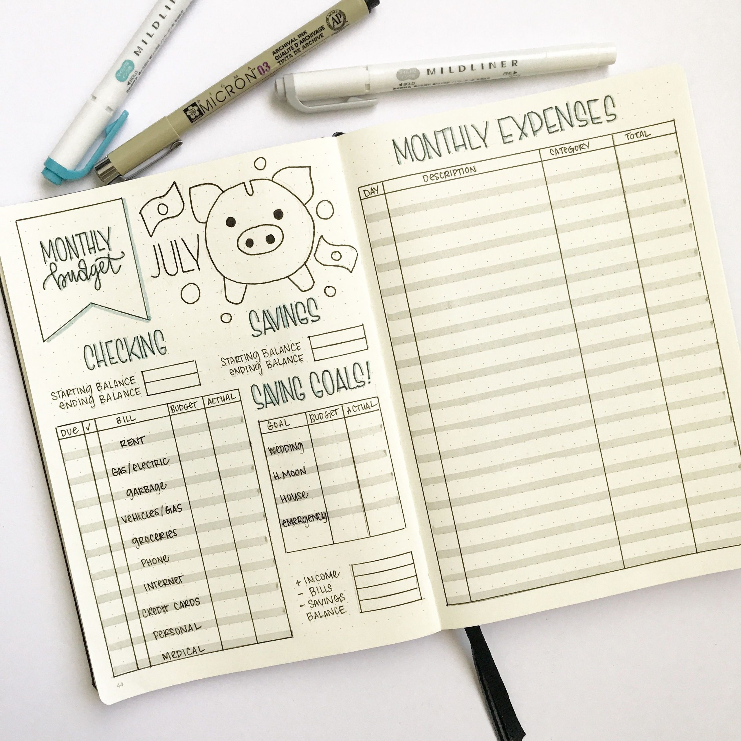 bullet journal budget template  Bullet Journal Budget and Finance Tracker by ..