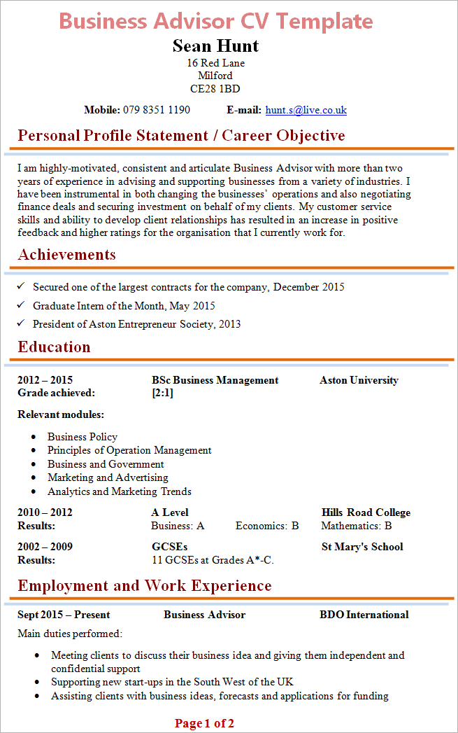 resume template address  business-advisor-cv - resume template address