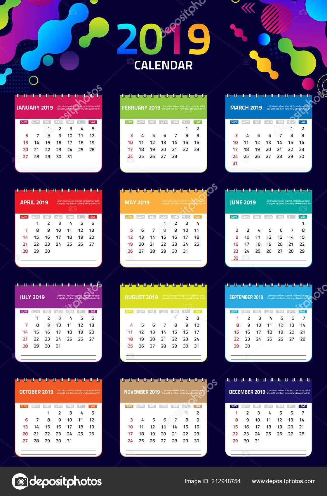 6 week calendar template  Calendar 2019 Colorful Set Set Desk Wall Calendar Template ..