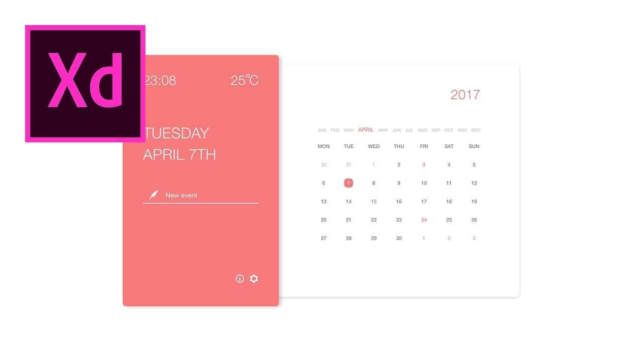 xd calendar template  Calendar App - Speed Art: Adobe XD - YouTube - xd calendar template