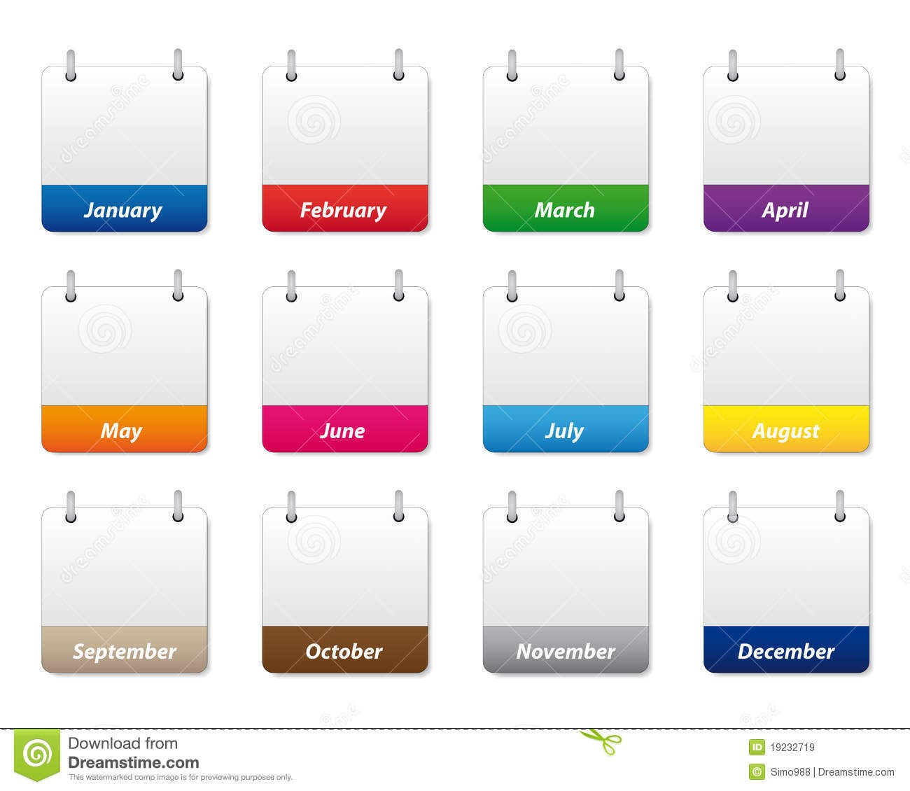blank calendar template for kids  Calendar Icons Set Royalty Free Stock Images - Image: 19232719 - blank calendar template for kids