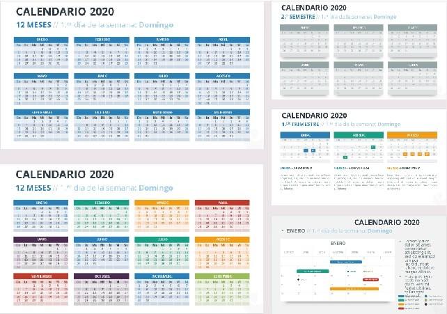 calendar template 2020 word  Calendario 2020 en Power point - Plantillas Power Point gratis - calendar template 2020 word