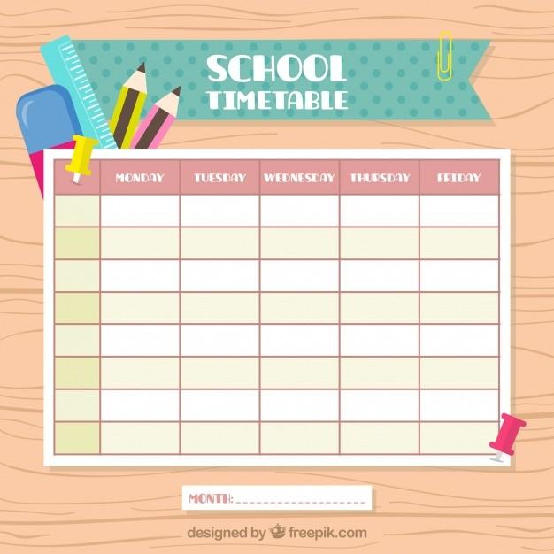 school schedule template cute  Calendario escolar vintage | Descargar Vectores gratis - school schedule template cute