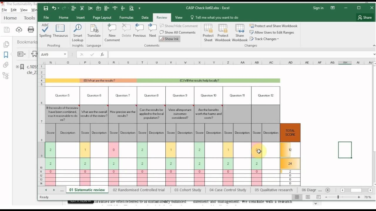 study schedule template  CASP checklist Excel tool