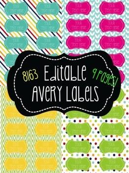 avery template download  Chevron, Polka dot, & Stripes Editable Labels! 10 per page ..