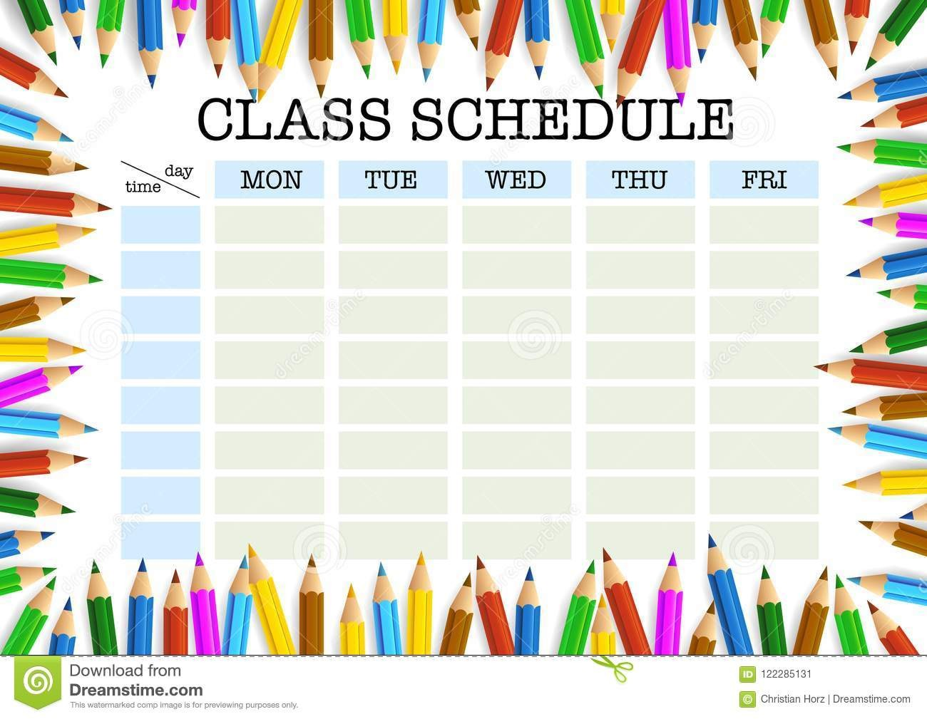 class schedule template tumblr  Class Schedule Surrounded By Colored Pencils Template ..