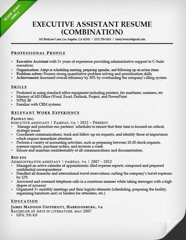 virtual assistant resume template  combination resume for an executive assistant ..