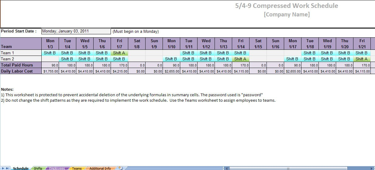 shift schedule template  compressed work schedule | 5 4 9 compressed work schedule - shift schedule template