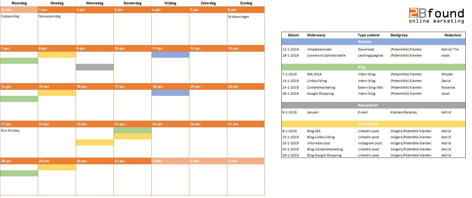 calendar template jan 2020  Contentkalender template 2020 | Gratis Download ..