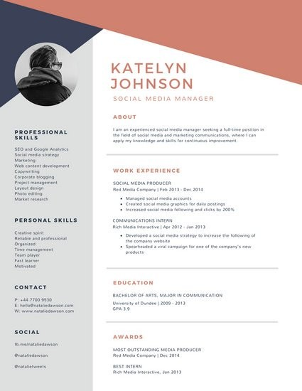 resume template gray Corporate Resume Templates - Canva