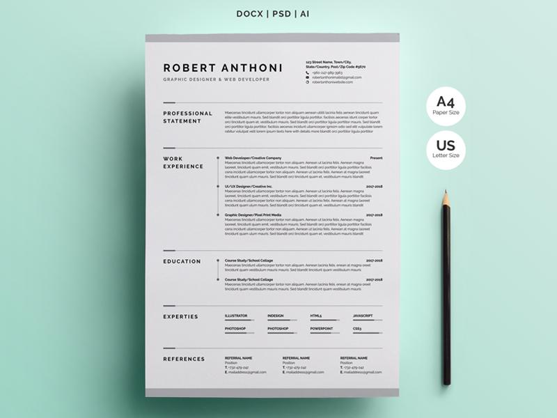 resume template pinterest  Creative Resume/CV Template by White Graphic on Dribbble - resume template pinterest