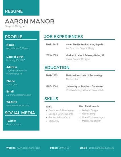 resume template graphic designer  Customize 67+ Professional Resume templates online - Canva - resume template graphic designer