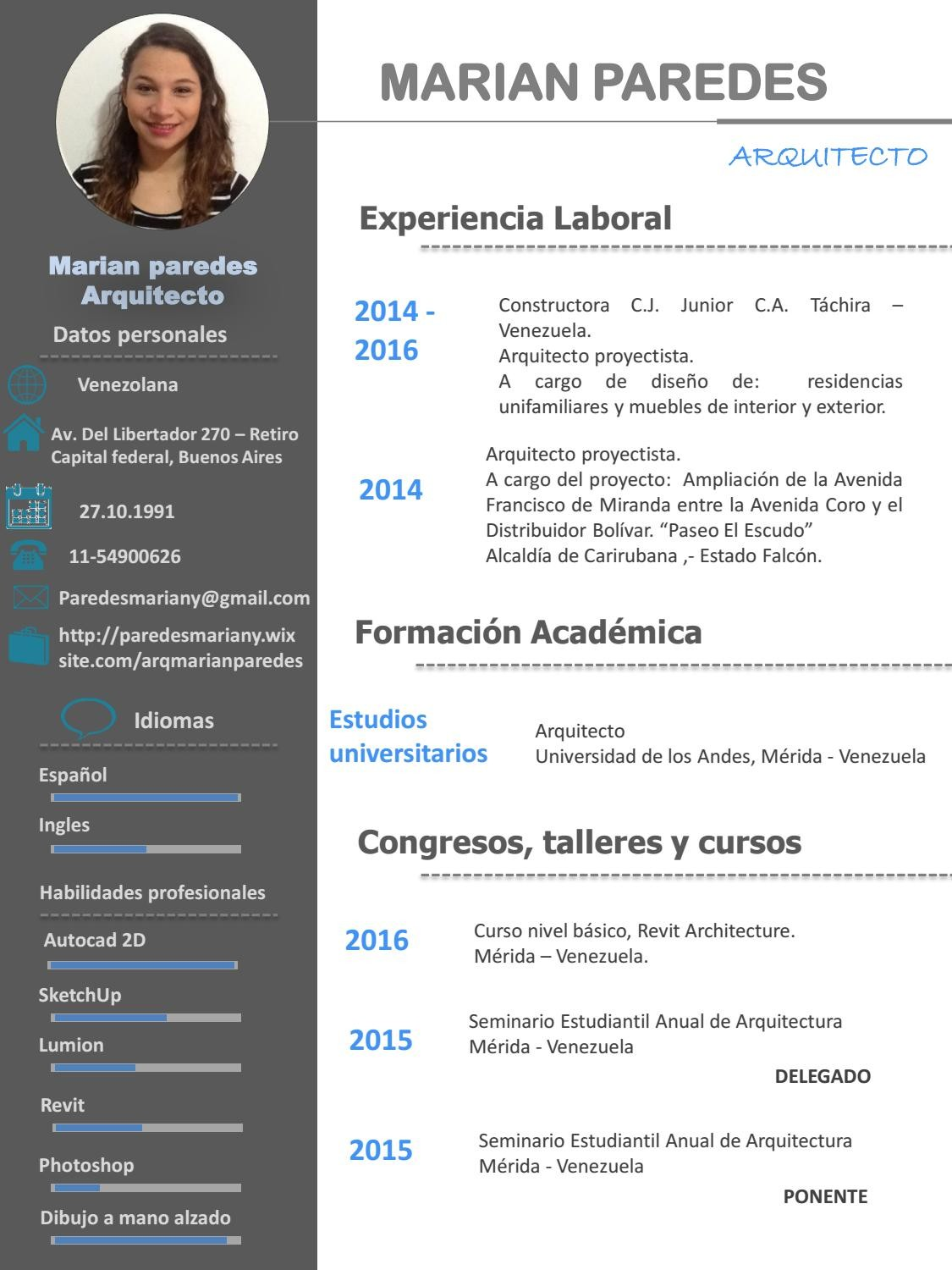 resume template 1 page  Cv marian paredes arquitecto by Marian Paredes - Issuu - resume template 1 page