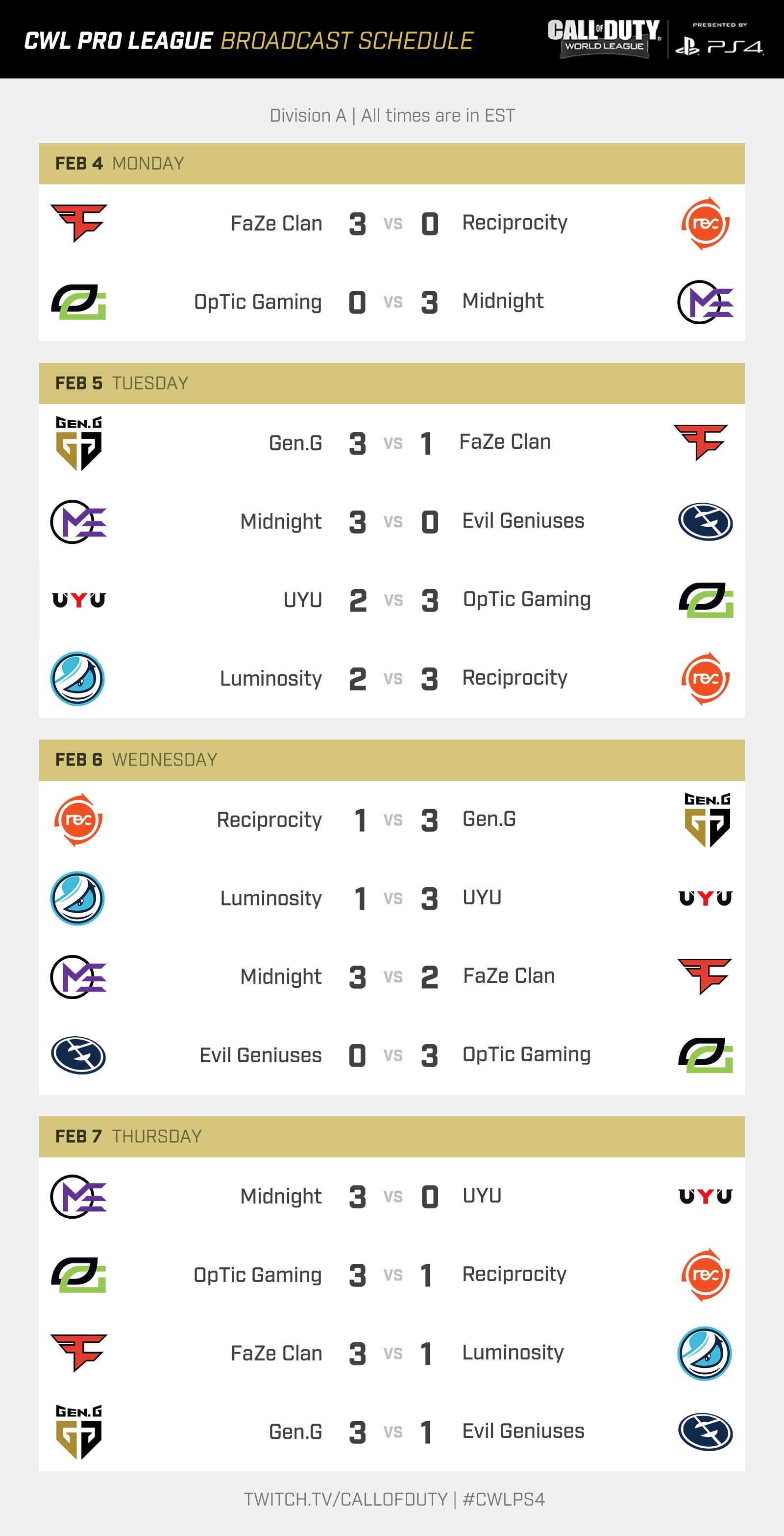 6 team league schedule template  CWL Pro League 2019 Season Schedule Revealed - 6 team league schedule template