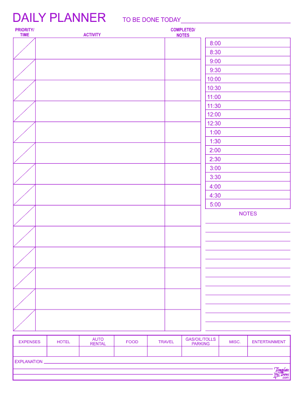 m-f calendar template  Daily Planner - m-f calendar template