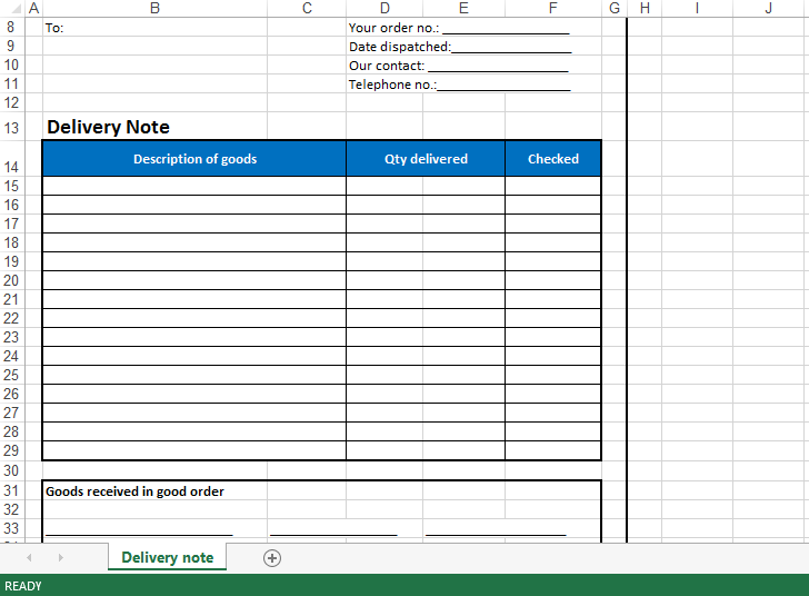 delivery schedule template xls  免费 Delivery Note Excel Template | 样本文件在 ..