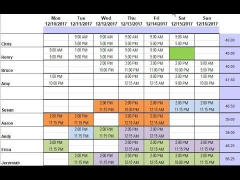 schedule template excel  Demo of Restaurant Schedule Template using Excel - YouTube - schedule template excel