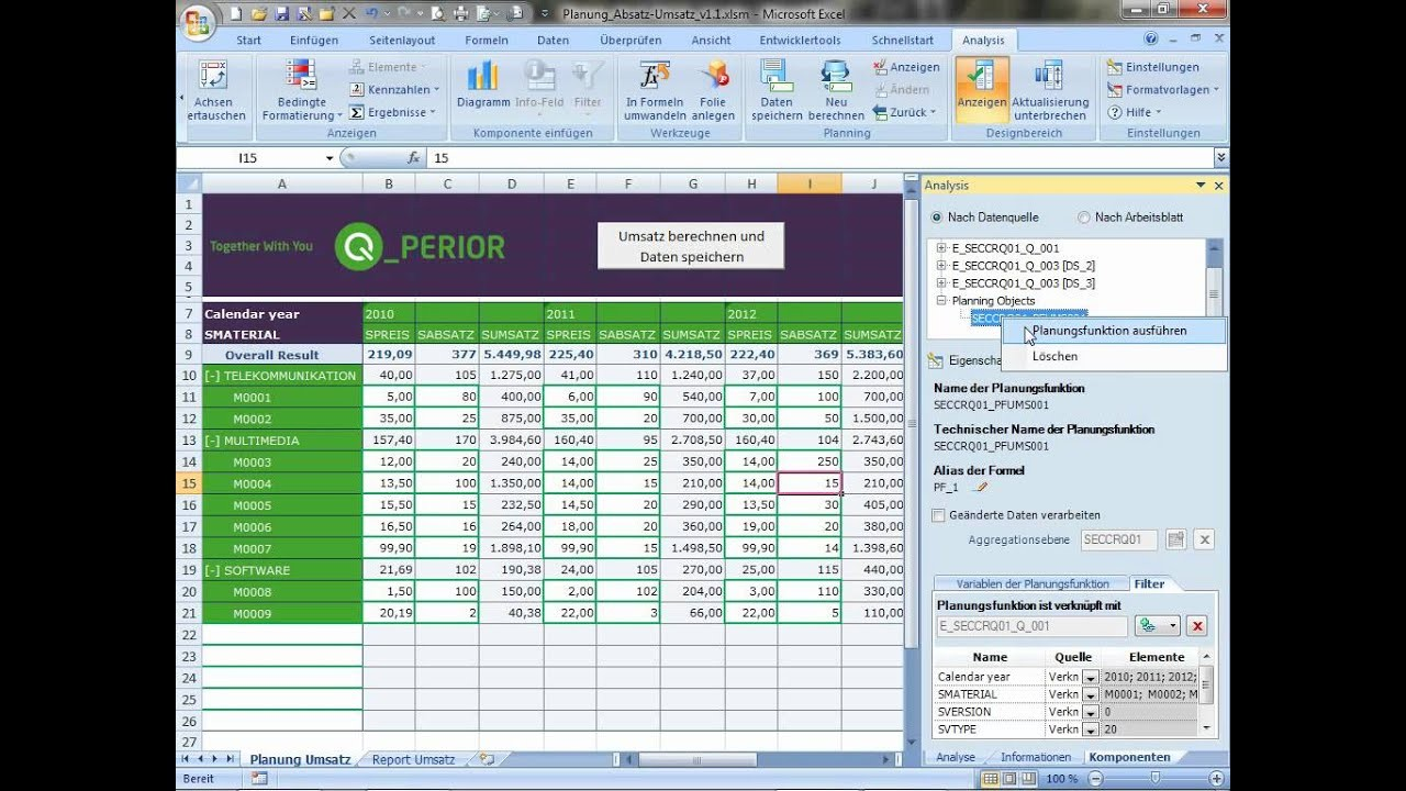 calendar template powerpoint  Demo SAP BusinessObjects Analysis for Office in Excel und ..