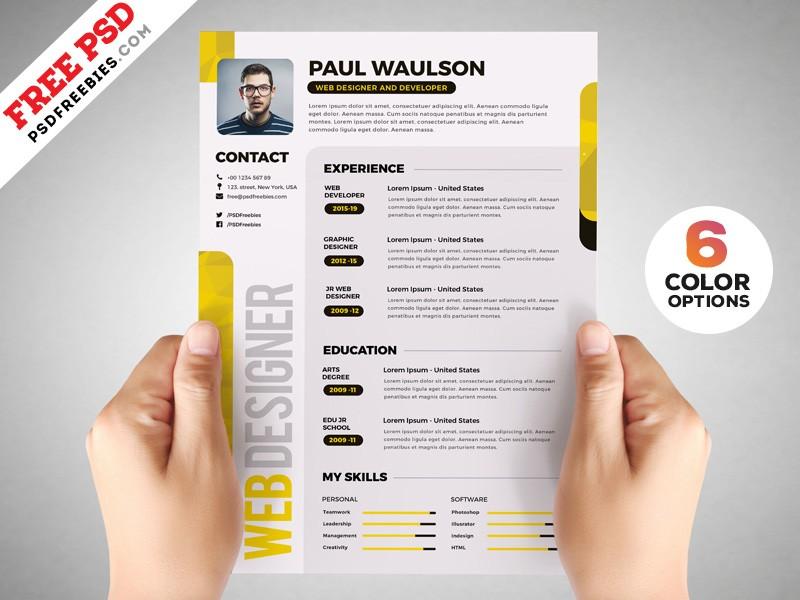 resume template graphic designer  Designer Resume Template PSD Set by PSD Freebies on Dribbble - resume template graphic designer