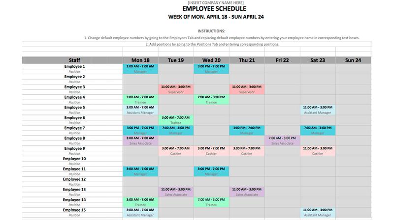 schedule template excel  Employee Schedule Template in Excel and Word Format - schedule template excel