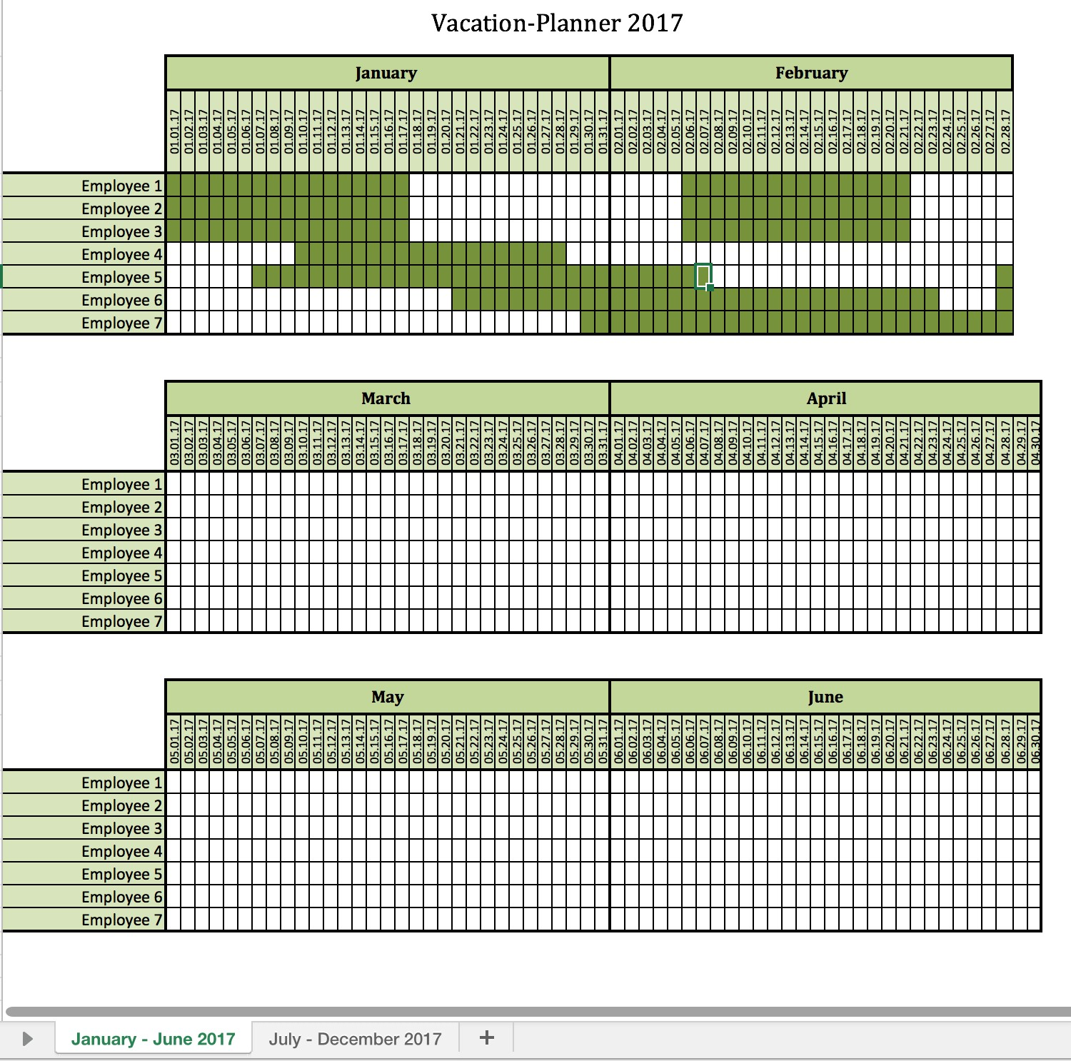 team vacation calendar template  Employee Vacation Planner Template Excel | printable ..
