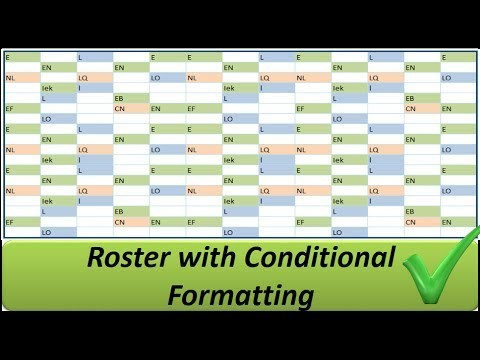 shift schedule template  Excel Roster with Conditional Formatting -- Shifts in ..