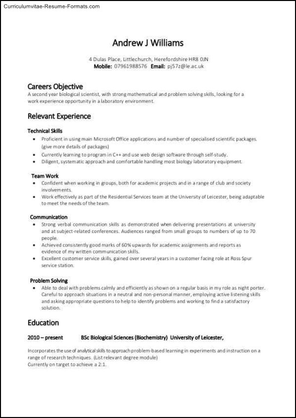 resume template no work experience  Experience Based Resume Template | Free Samples , Examples ..