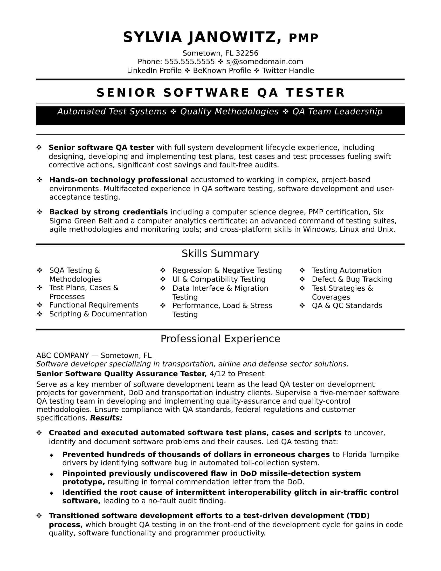 qa resume template ten facts that nobody told you about qa