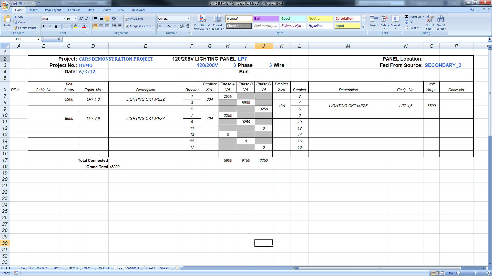 3 phase panel schedule template excel  Export Panel Schedules to Excel – BIMarabia - 3 phase panel schedule template excel