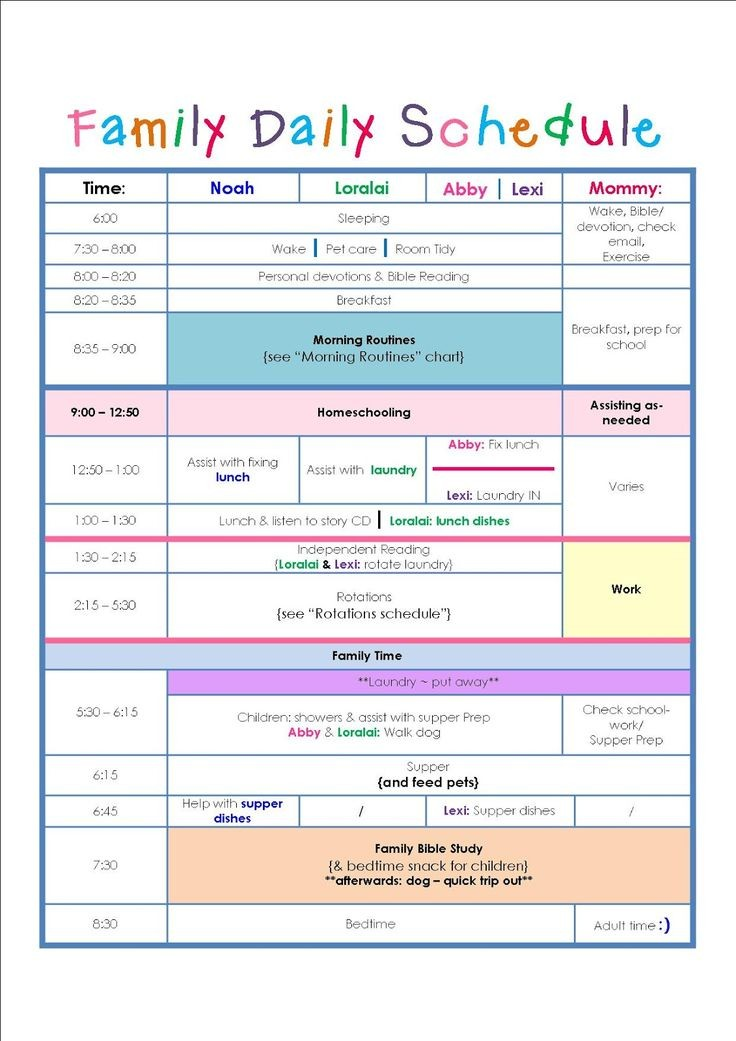 nanny schedule template  Family Daily Routine Schedule Template …   Home Schedule ..