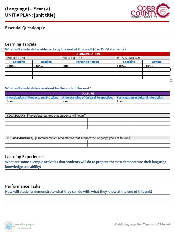 unit plan calendar template  Files - Documents - WL Unit Plan Template - Cobb County ..