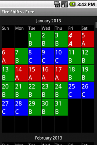 shift schedule template  Fire Shifts | Fire Fighter and EMS calendars for Android & iOS - shift schedule template