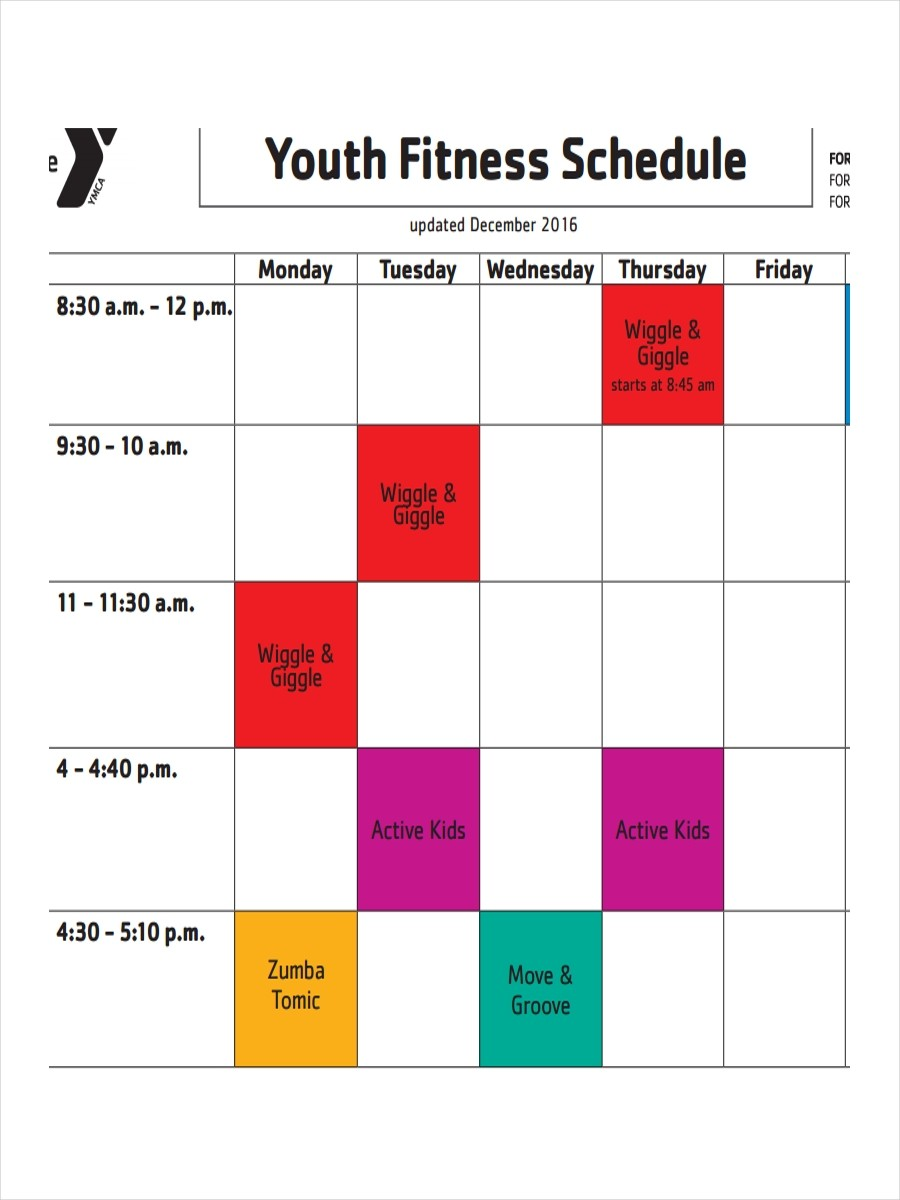 schedule template google sheets  FREE 10+ Fitness Schedule Examples & Samples in PDF ..