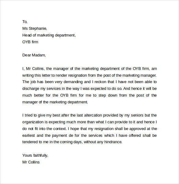 hr letter template  FREE 14+ Sample Resignation Letter Formats in PDF | MS Word - hr letter template